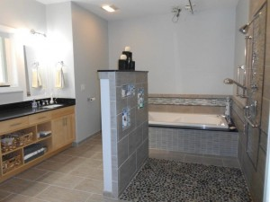 accessible home bathroom with roll-in shower